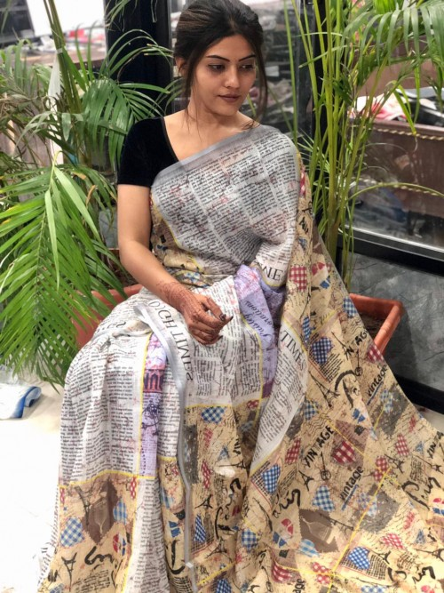 Digital Printed Linen sarees