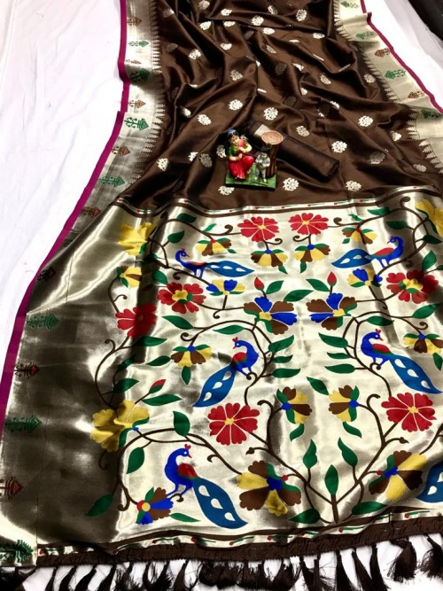 Brown Kanchipuram silk woven saree