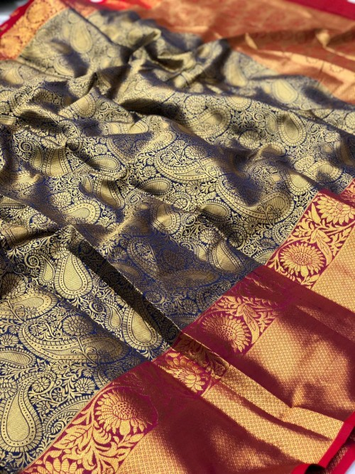 women's Bluey Kanchipuram Silk saree