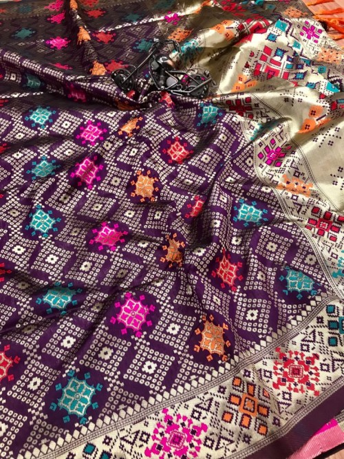 Gorgeous Purple Soft Banarasi silk saree by grabandpack