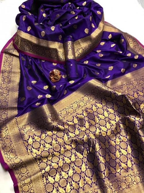 Women's Latest Designer Purple Lichi Silk Saree at GrabandPack