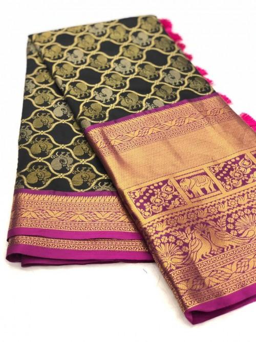 Women's latest kanchipuram silk saree in Black