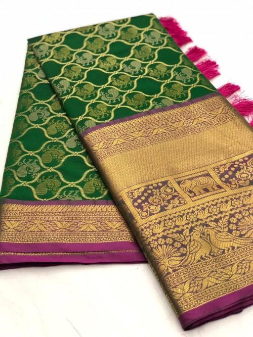 Women's latest kanchipuram silk saree in Green