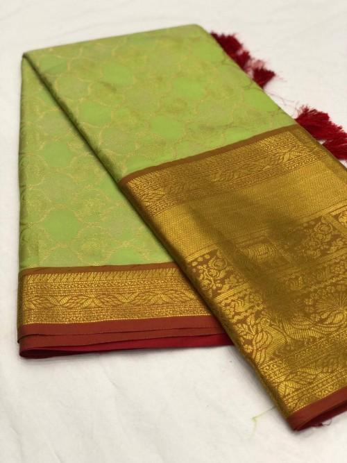 Women's latest kanchipuram silk saree in Light Green