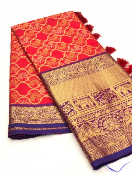 Red color kanjivaram saree