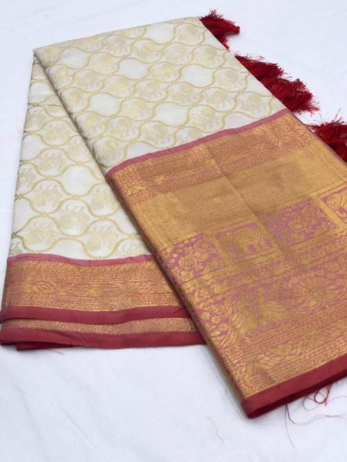 Women's latest kanchipuram silk saree in White