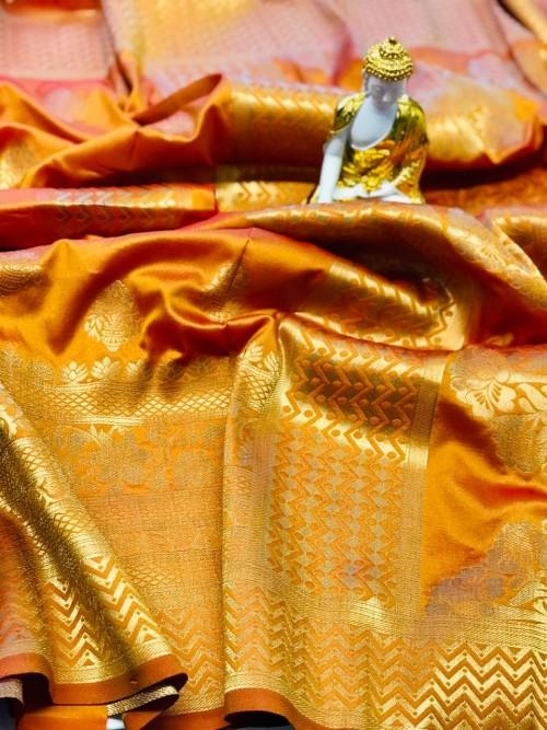 Orange coloured Jacquard Gold zari work saree at grabandpack