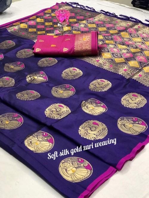 Women's Purple Banarasi Silk Weaving Jacquard Saree by grabandpack