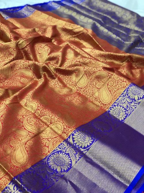 women's Red Kanchipuram Silk saree