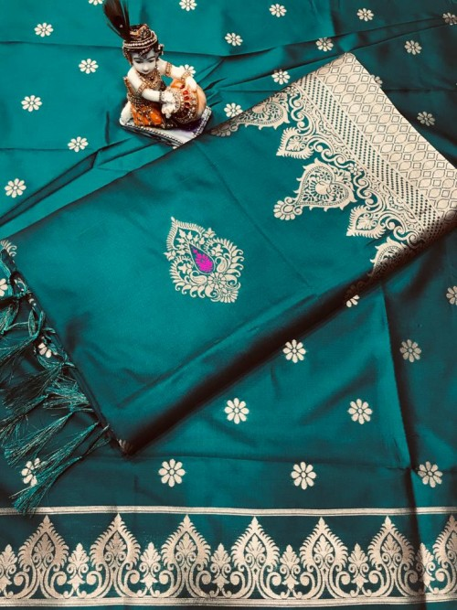 Women's Sea Blue Wardrobe Special indian silk saree