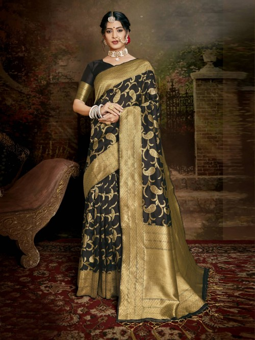 Black coloured Jamdani silk saree online india
