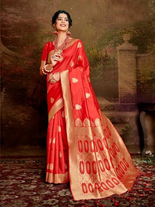 grabandpack Red coloured Jamdani silk saree