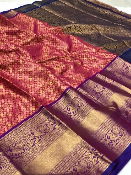 Women's Trending pink Traditional silk saree | Saree for Ugadi Festival