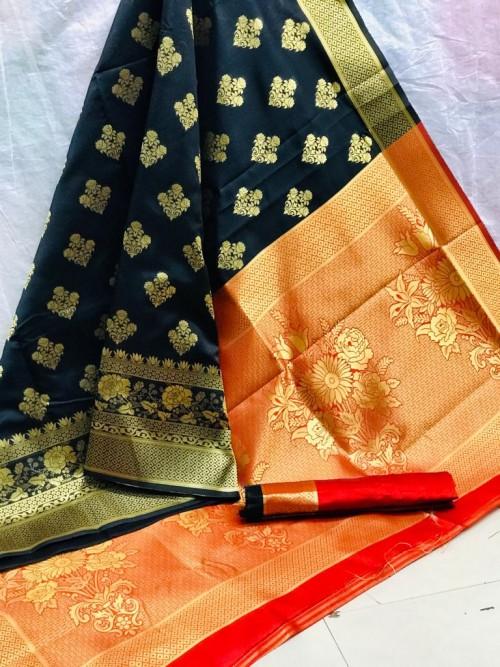 Zari Gold Banarasi Silk Weaving Silk Black Saree