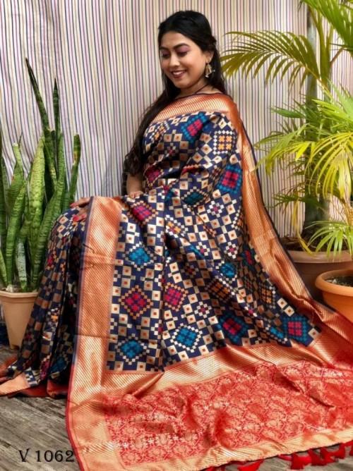 Banarasi Silk Patola Woven Designer Saree in blue
