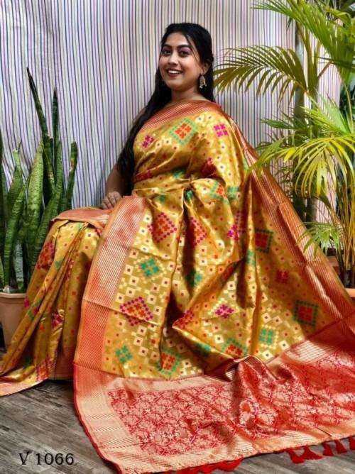 Banarasi Silk Patola Woven Designer Saree in Yellow