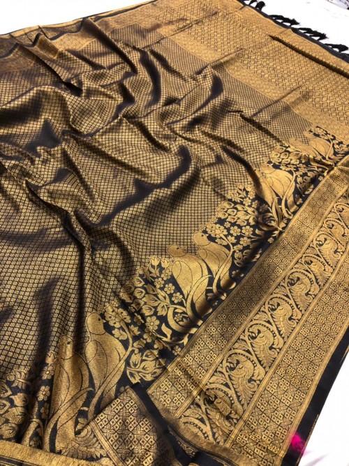 Black Pure Banarasi Silk with Pure Gold Kasab Zari Yarn - gnp010047