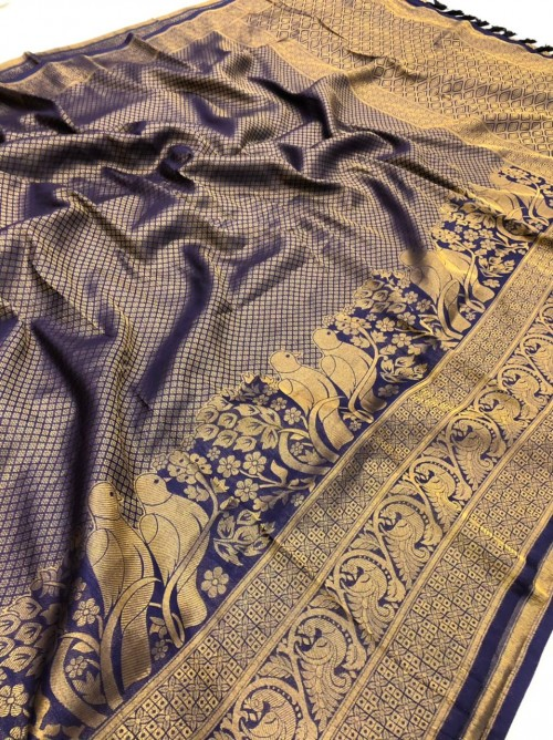 Blue Pure Banarasi Silk with Pure Gold Kasab Zari Yarn - gnp010048