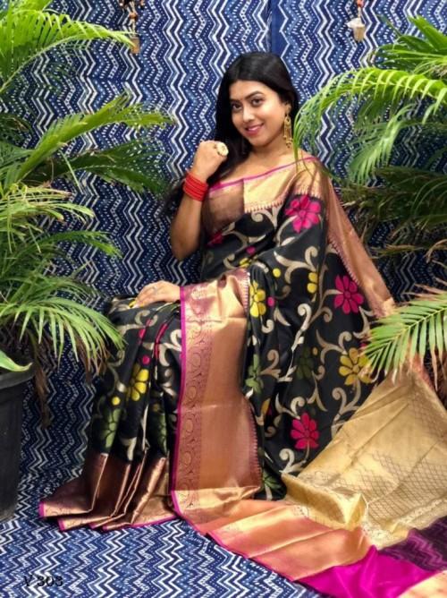 Designer Ikkat Weaving Silk Saree in Black grabandpack