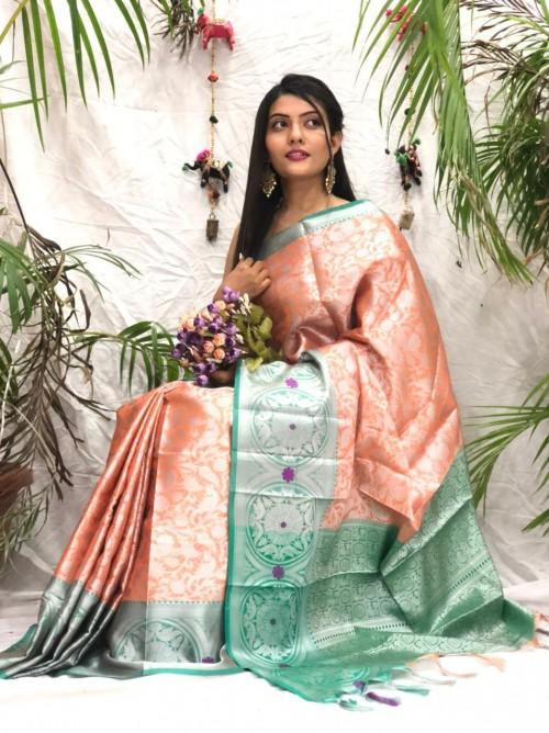Exclusive Orange kora muslin sarees online shopping