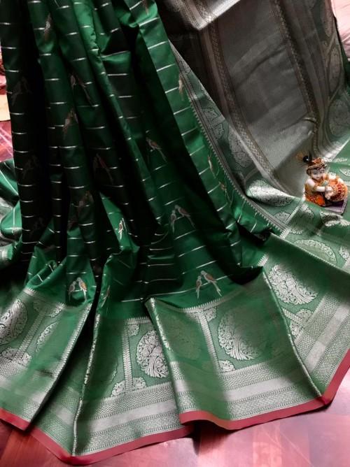 women's Fancy Jacquard Royal Saree in Green