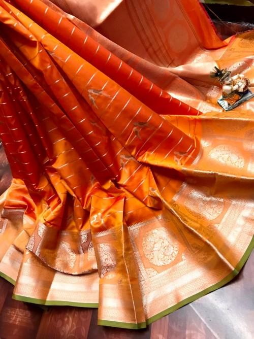 women's Fancy Jacquard Royal Saree in Orange