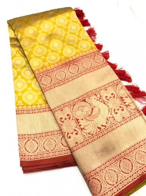 Yellow Kanchipuram silk Traditional saree