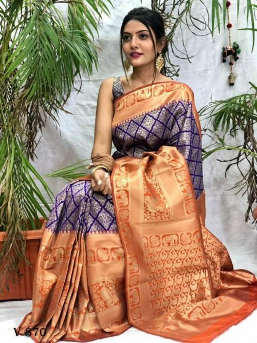 Gorgeous Banarasi Art Silk saree in Purple