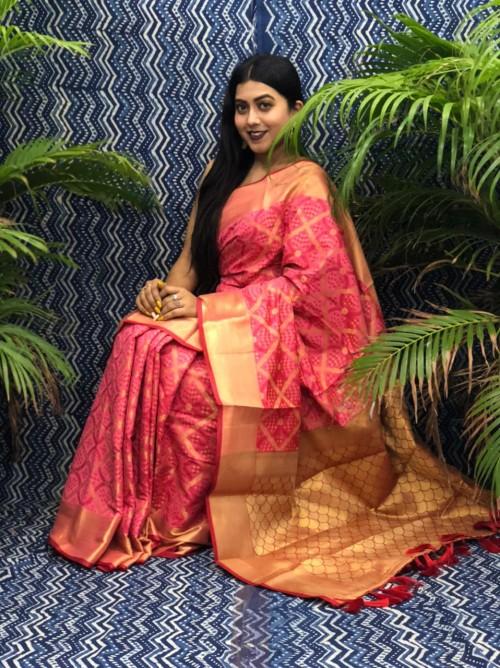 Peach Silk Blend Woven Design Patola Saree GrabandPack