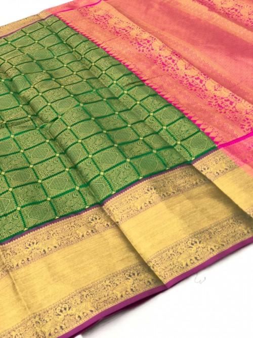 Green Kanchipuram Silk party wear saree