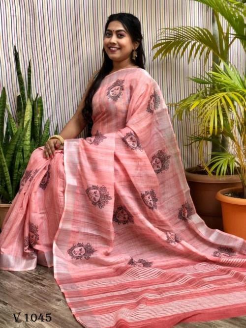 Latest Trending Block Printed peach saree by grabandpack