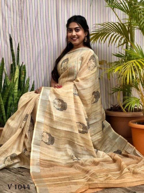 Latest Trending Block Printed Yellow saree by grabandpack