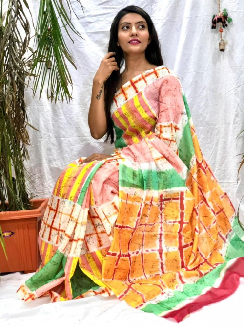 Women's linen printed sarees with price india