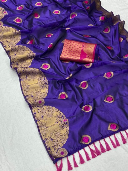 New design banarasi soft silk saree in Purple