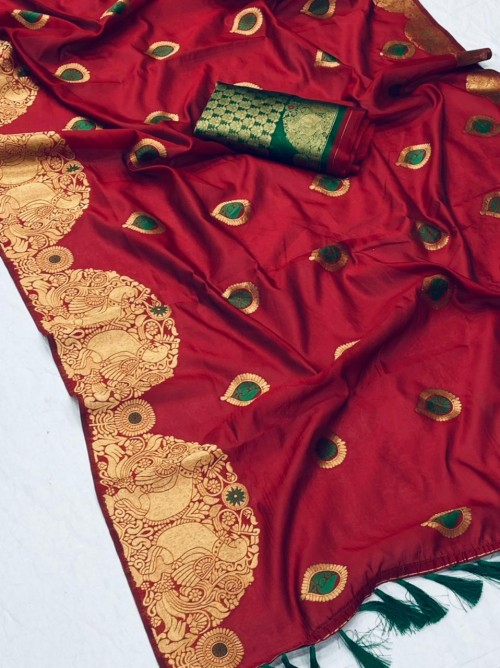 New design banarasi soft silk saree in Red