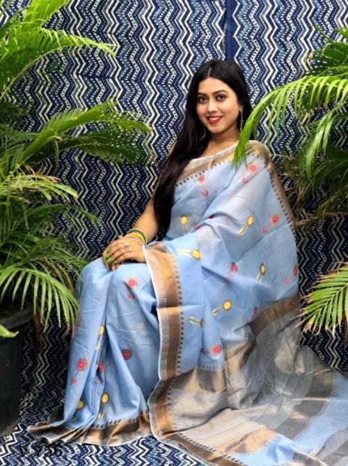 Fancy Light Blue Linen Printed saree grabandpack