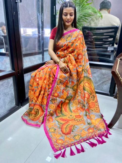 Orange Printed Linen silk saree online