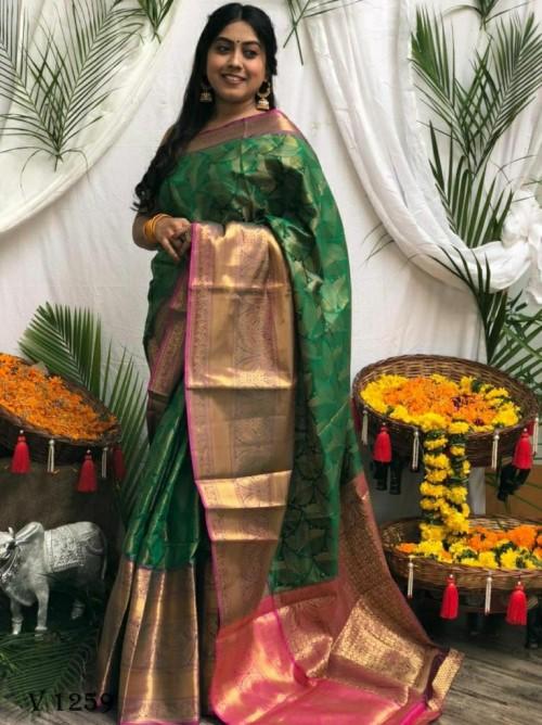 Premium Green Banarasi silk saree grabandpack