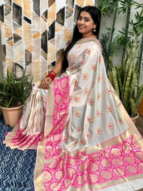 White coloured Katan silk saree with Pink coloured woven Border