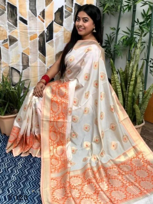 White coloured Katan silk saree with Red coloured woven Border