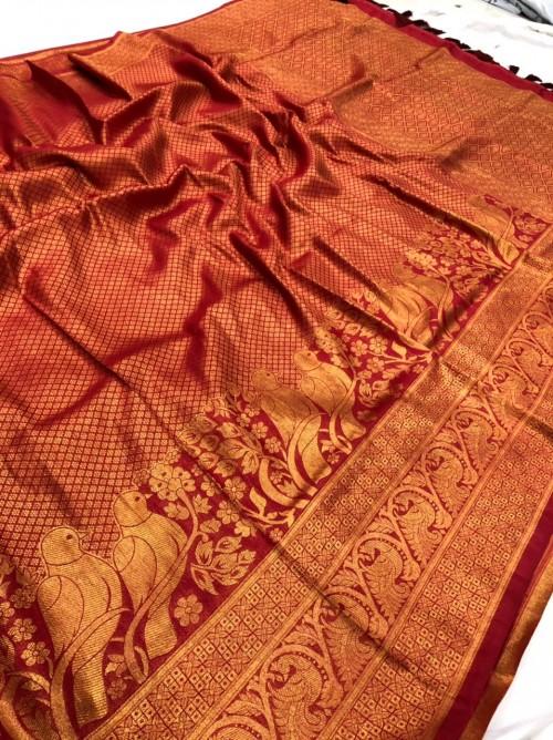Red Pure Banarasi Silk with Pure Gold Kasab Zari Yarn - gnp010050