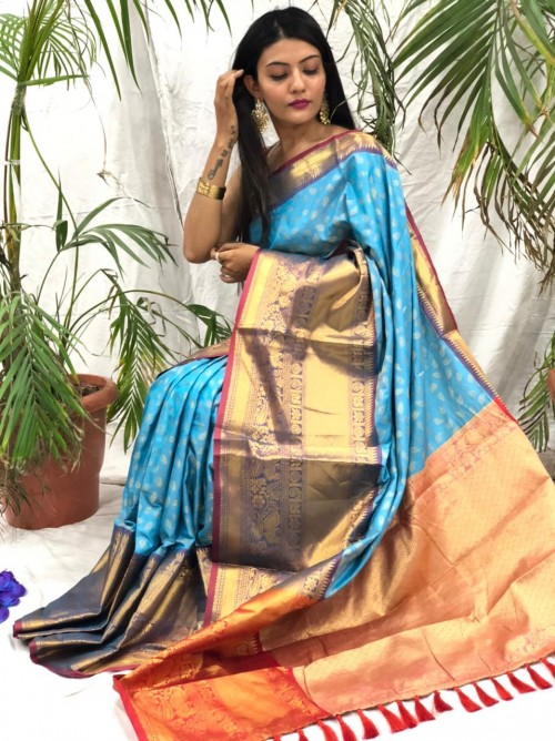 sky Blue kanchipuram silk sarees online shopping cash on delivery