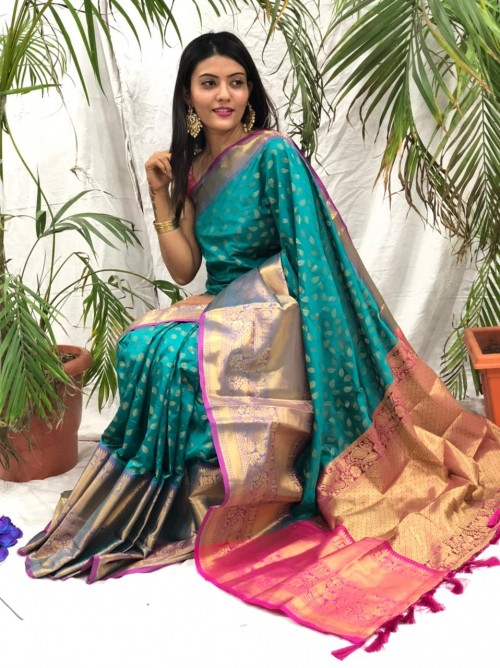 Sea Green kanchipuram silk sarees online shopping cash on delivery