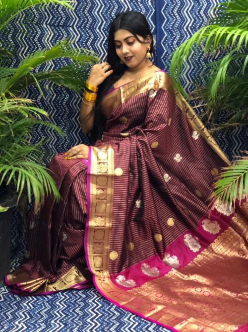 Traditional Kanchipuram silk saree in Brown