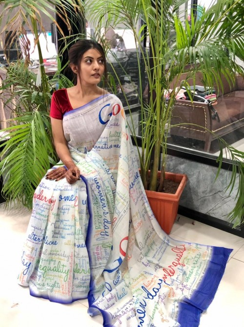 unique fancy Digital Printed Linen saree