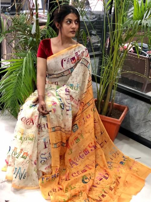 unique fancy Digital Printed Linen saree