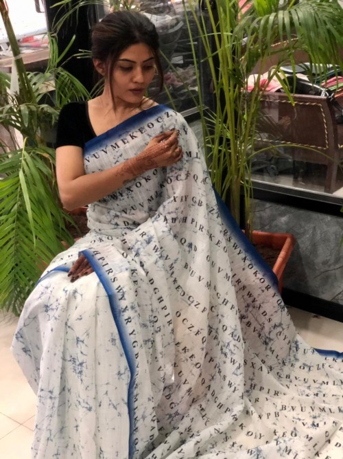 unique fancy Digital Printed Linen sarees