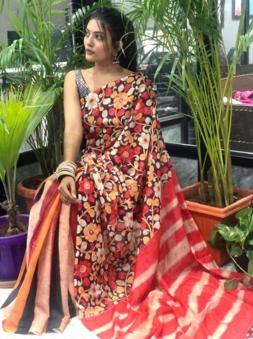 women's Digital printed linen saree gnp010241