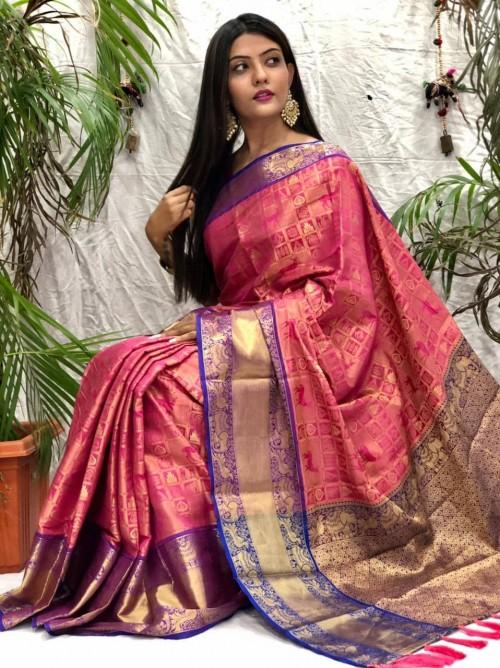 Gorgeous kanjeevaram silk saree in Pink