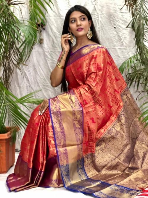 Gorgeous kanjeevaram silk saree in Red